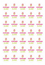 Slime Stickers - Cupcake Slime - 35 Matt Paper Stickers At 37mm